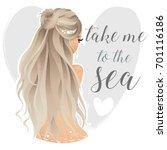 beautiful mermaid on the heart...   Shutterstock .eps vector #701116186