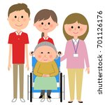 elderly women sitting in a... | Shutterstock .eps vector #701126176