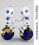 Two 3d  Robots Holding Their...