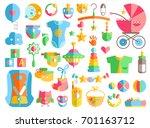 newborn infant themed cute flat ... | Shutterstock . vector #701163712