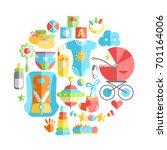 flat infancy round... | Shutterstock . vector #701164006
