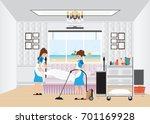 maid cleaning hotel room with... | Shutterstock .eps vector #701169928