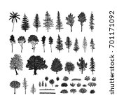 vector set of trees  grass and... | Shutterstock .eps vector #701171092
