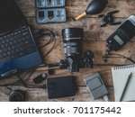 top view of work space... | Shutterstock . vector #701175442
