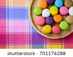 colorful delicious macarons in... | Shutterstock . vector #701176288