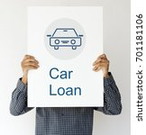 Small photo of Car Loan Icon on the WHite Placard