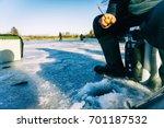 winter fishing. ice fishing.  | Shutterstock . vector #701187532