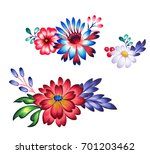 folk flowers for graphic design ... | Shutterstock . vector #701203462