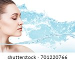 sensual woman in wave splashes... | Shutterstock . vector #701220766