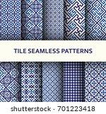 mosaic seamless patterns set.... | Shutterstock .eps vector #701223418