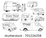 food truck set sketch design.... | Shutterstock .eps vector #701226358