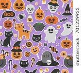 halloween pattern  pumpkin ... | Shutterstock .eps vector #701229922