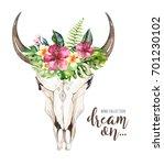 watercolor bohemian cow skull... | Shutterstock . vector #701230102