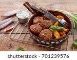 pork or turkey meat balls with...   Shutterstock . vector #701239576