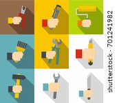 builder tools icons set. flat... | Shutterstock .eps vector #701241982