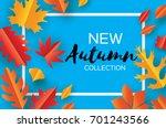 beautiful autumn paper cut... | Shutterstock .eps vector #701243566