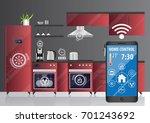 red smart kitchen. control... | Shutterstock .eps vector #701243692