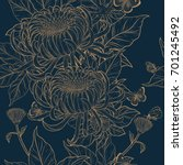 chrysanthemum pattern on... | Shutterstock .eps vector #701245492