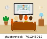 family with cat watching tv... | Shutterstock .eps vector #701248012