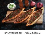turkish pide  meat and pastry... | Shutterstock . vector #701252512