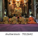 Monks In Meditation In Loung...