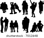 silhouettes of the couples | Shutterstock .eps vector #7012648