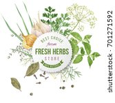 watercolor fresh herbs and... | Shutterstock . vector #701271592