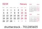 wall quarter calendar 2018.... | Shutterstock .eps vector #701285605