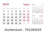 wall quarter calendar 2018.... | Shutterstock .eps vector #701285635