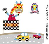 toy cars race vector cartoon... | Shutterstock .eps vector #701295712