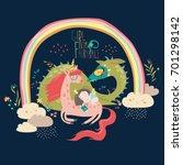 cute cartoon dragon  unicorn... | Shutterstock .eps vector #701298142