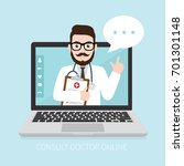 hipster doctor with online... | Shutterstock .eps vector #701301148