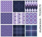 Vector Set Of Nine Purple...