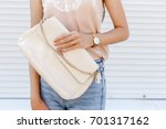 stylish woman's outfit. beige... | Shutterstock . vector #701317162