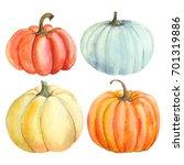 set pumpkin  watercolor hand...   Shutterstock . vector #701319886