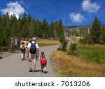 Family Hiking In Yellowstone...
