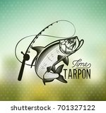 tarpon fishing emblem on blur... | Shutterstock .eps vector #701327122