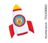 Stock vector cute little cat kitten astronaut spaceman character flying in rocket cartoon vector illustration 701338882