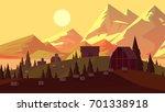 sunset evening countryside.... | Shutterstock . vector #701338918