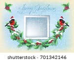 christmas card with photo frame ... | Shutterstock .eps vector #701342146
