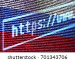 Small photo of Address bar of the browser https://www. against the background of the Russian flag from the program code