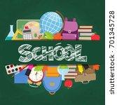 set of different school... | Shutterstock . vector #701345728