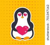 emoji with pinguin in love | Shutterstock .eps vector #701347162