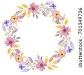 watercolor flower garland pink... | Shutterstock . vector #701349736