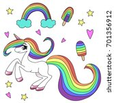 rainbow unicorn with a... | Shutterstock .eps vector #701356912