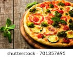 delicious pizza served on... | Shutterstock . vector #701357695