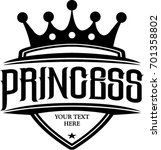 crown and princess typography ...