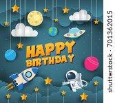 modern paper art style happy... | Shutterstock .eps vector #701362015