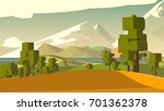 cartoon countryside stylized... | Shutterstock . vector #701362378