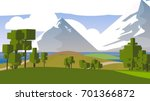stylized cartoon countryside. | Shutterstock . vector #701366872